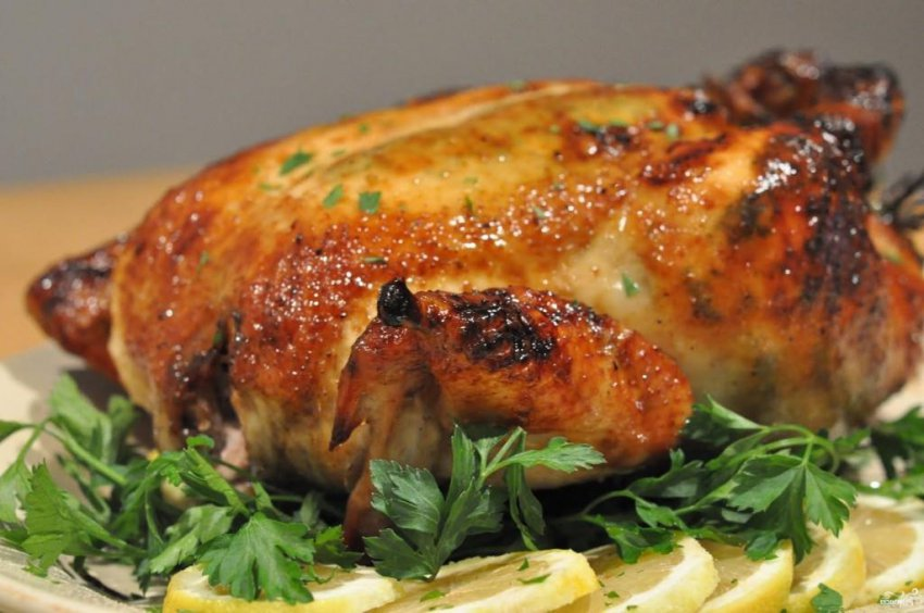 Курица с майонезом и чесноком
