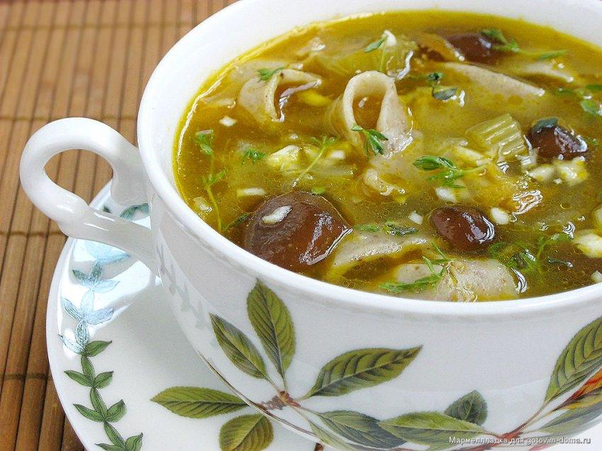 Суп грибной на мясном бульоне
