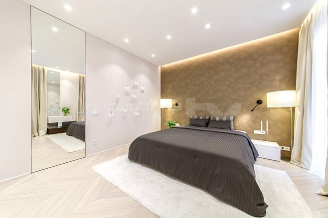 Современный дизайн интерьера спальни 19 кв