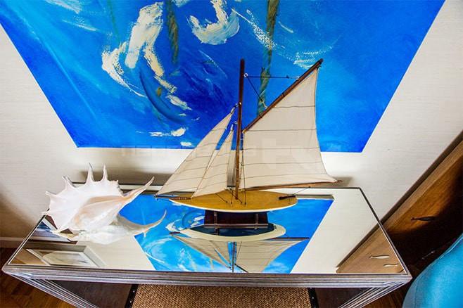 Интерьер спальни в морском стиле 15 кв