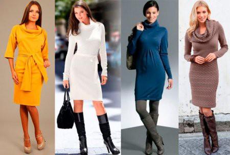 Теплые офисные платья