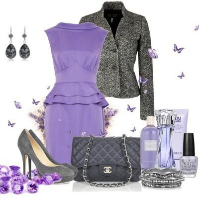 Аксессуары к фиолетовому платью