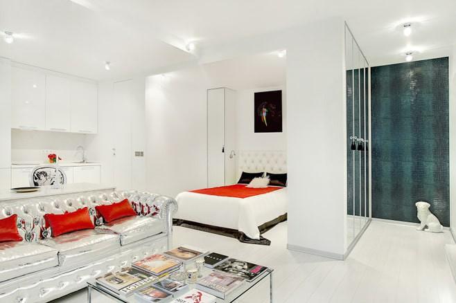 Интерьер квартиры-студии в белых тонах