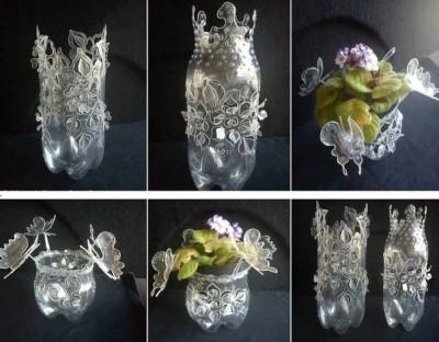 Клумбы из пластиковых бутылок: примеры украшения