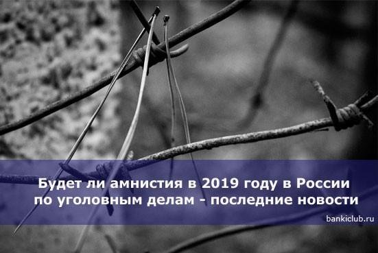 Будет ли амнистия в 2019 году в России по уголовным делам — последние новости
