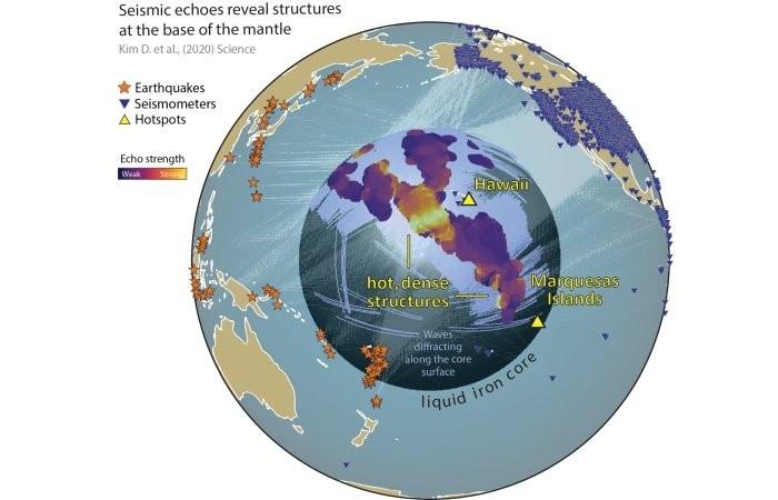 На границе ядра и мантии Земли обнаружены ранее неизвестные структуры
